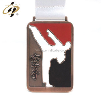Custom metal sports karate trophy and medal with sublimation lanyard