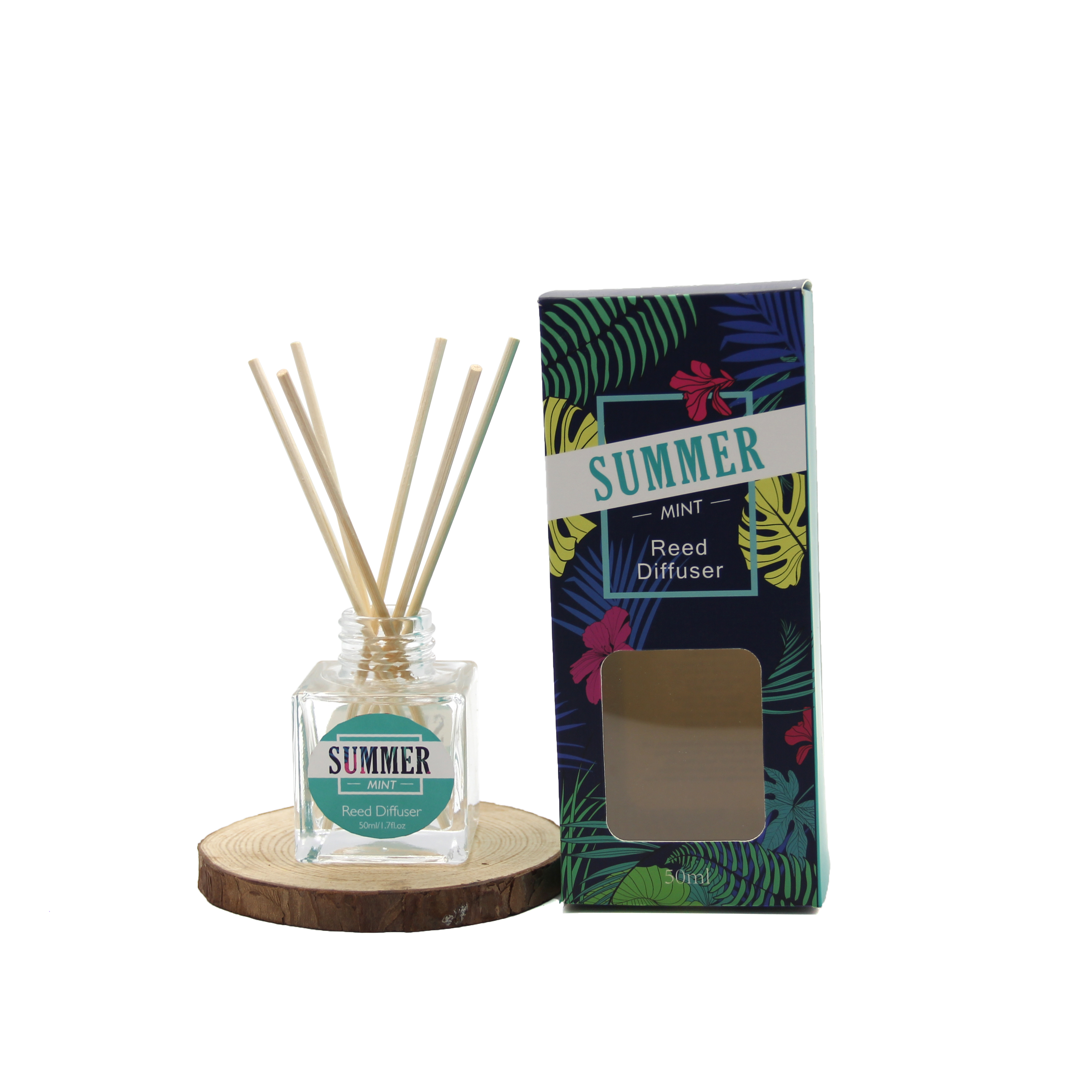 Custom Design Glazen Fles mint reed diffuser set