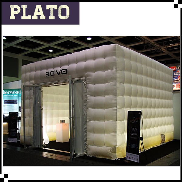 Hot sale light inflatable cube exhibition tents/inflatable LED photo booth for sale