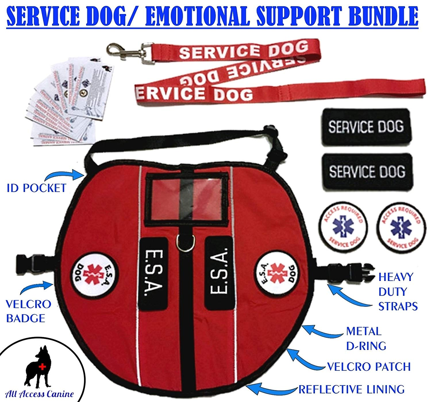 ALL ACCESS CANINE Emotional Support Animal ESA Dog & Service Dog Vest CUSTOM Reflective Harness PACKAGE (M,L,XL)