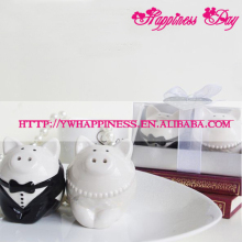Black and White Ceramic Pig Salt and Pepper Shaker Wedding Favors and Gifts