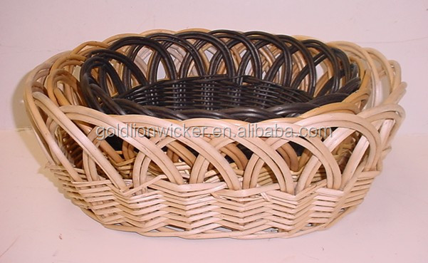 2015 round willow basket bread basket fruit basket used in restaurant or decorative mad of willow chocolate color