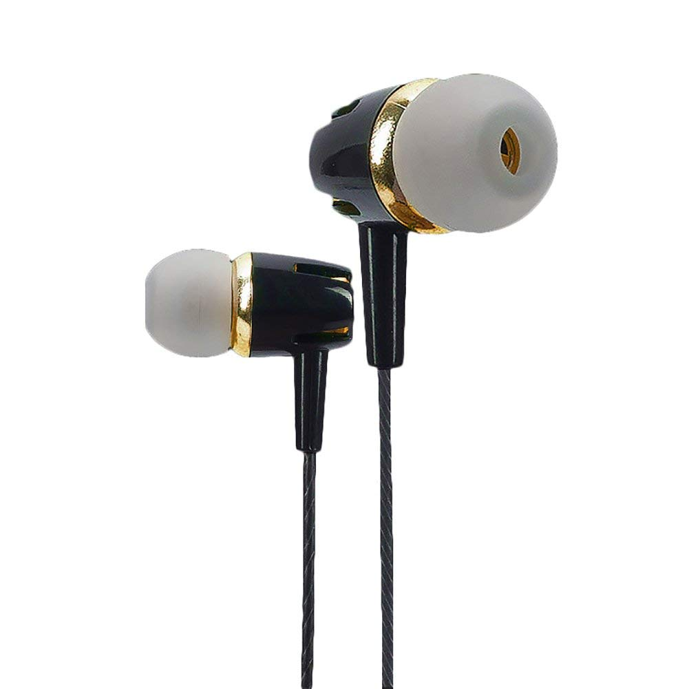 Jytrading 2018 New Black Electroplated Metal Headphones, In-Ear Earphone Mic Headset Stereo Bass Headphone for Phone Computer Gift