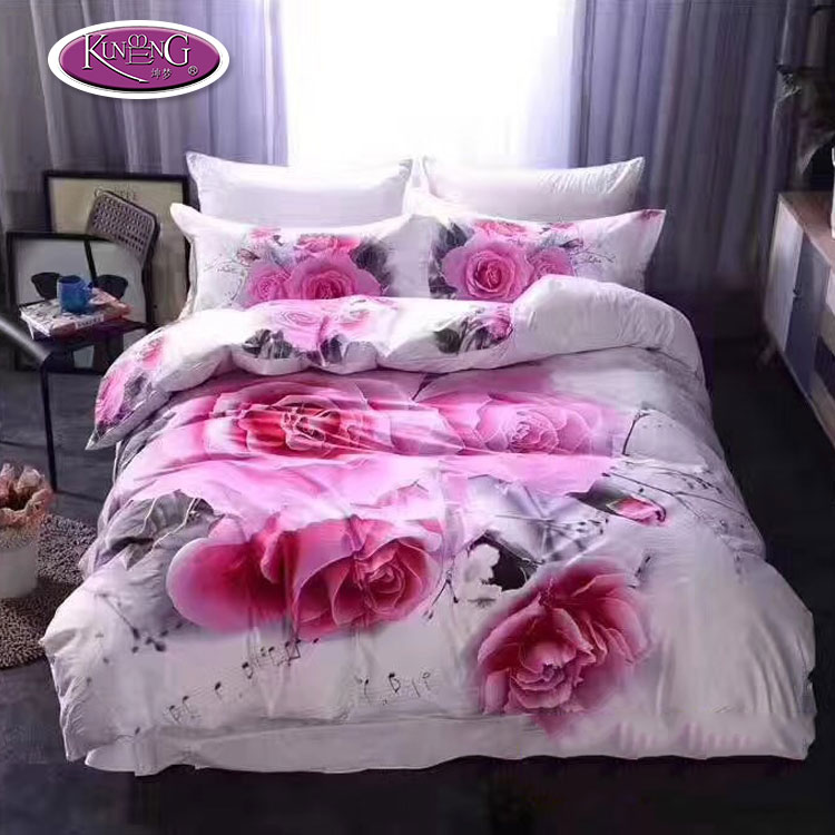 Super king size luxury wedding bed sheet bedding <strong>set</strong> 3d rose printed duvet cover <strong>sets</strong>