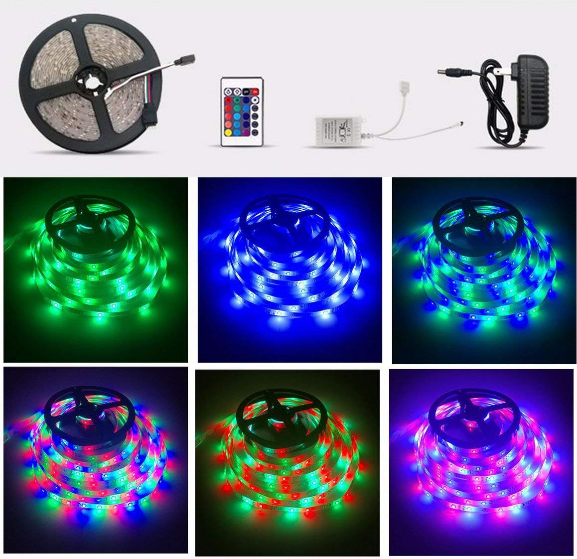 5M LED Strip Lights with Remote Color Changing LED Strip Lights for Room SMD 3528 RGB 300 LED +24 Key IR Remote Control+ Power Supply