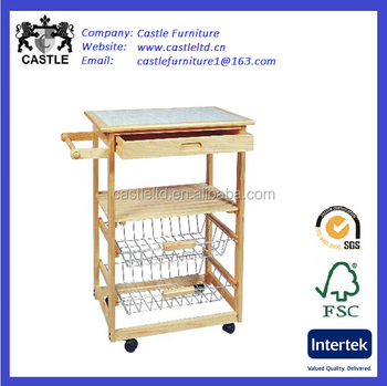 Small Euro Style Pine Wood Kitchen Trolley With Baskets