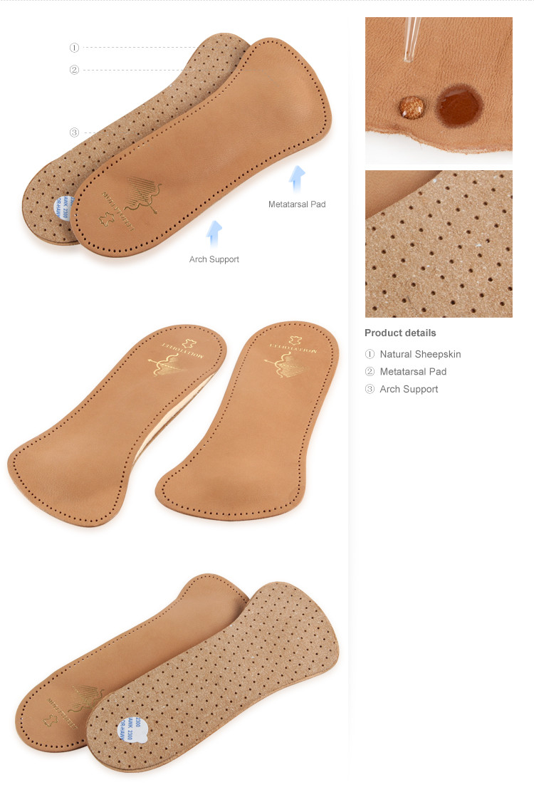 Genuine Leather Sweat Absorption Foot Arch Support Shoe Half ...