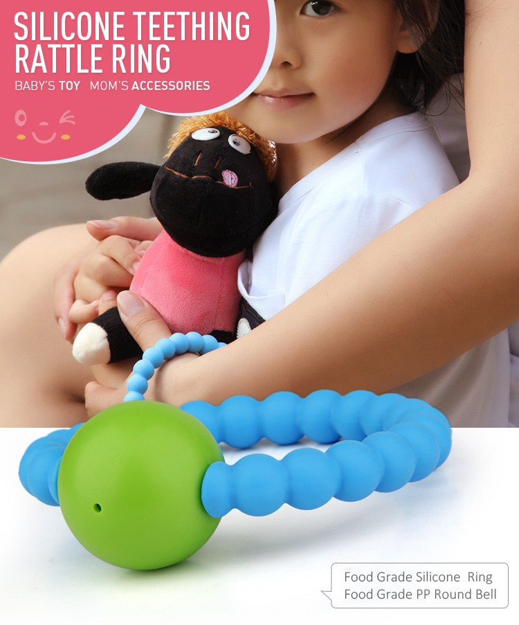 Baby Kids Teether Toddler Silicone Teething Toy Ring Chewable Soother Toy Gift Q