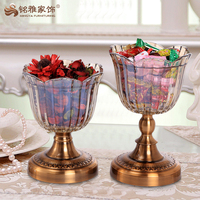 Unique home decor pieces round glass candy tray for holiday decoration