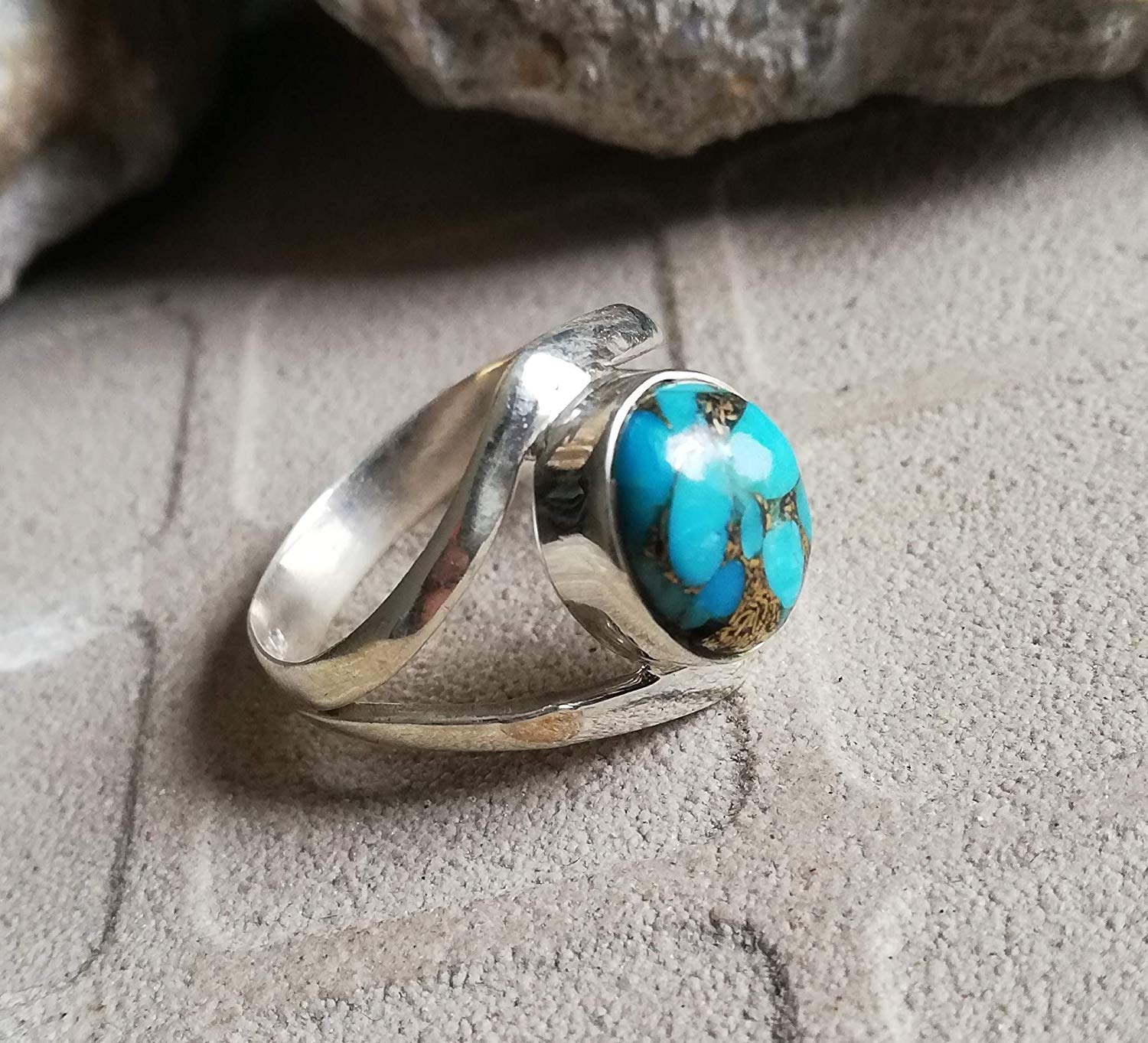 Blue Copper Turquoise Ring 925 Sterling Silver Natural Blue Ring Party Wear Ring Personalised Ring Bohemian Jewelry Classy Gift For Sister Extremely Unusual Jewelry Statement Ring Boho Charming Ring