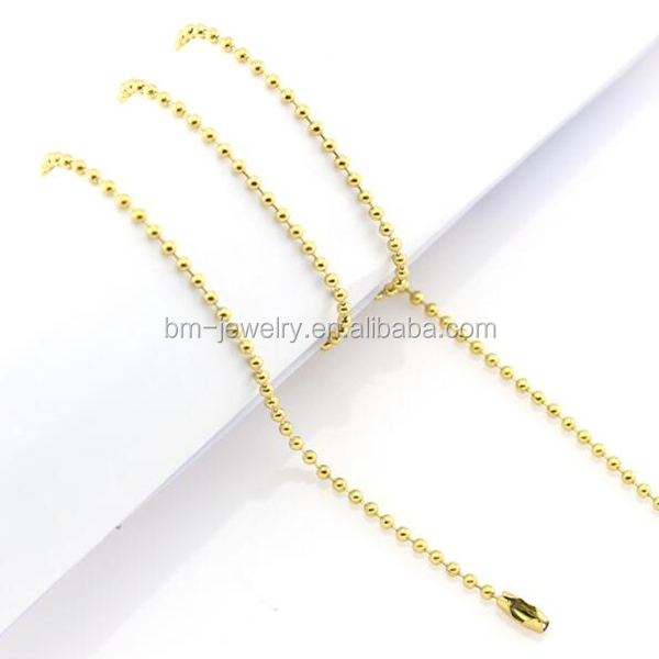 Best selling 316L stainless steel simple design 18K gold ball chain necklace for pendant