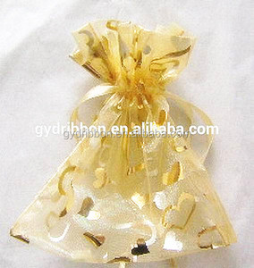 Gold Sheer Organza bags printed with hearts and drawstrings,Perfect Valentine's Day Gift Decorate Pouches