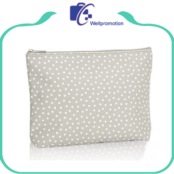 Cute dot printing canvas cotton makeup cosmetic zipper pouch