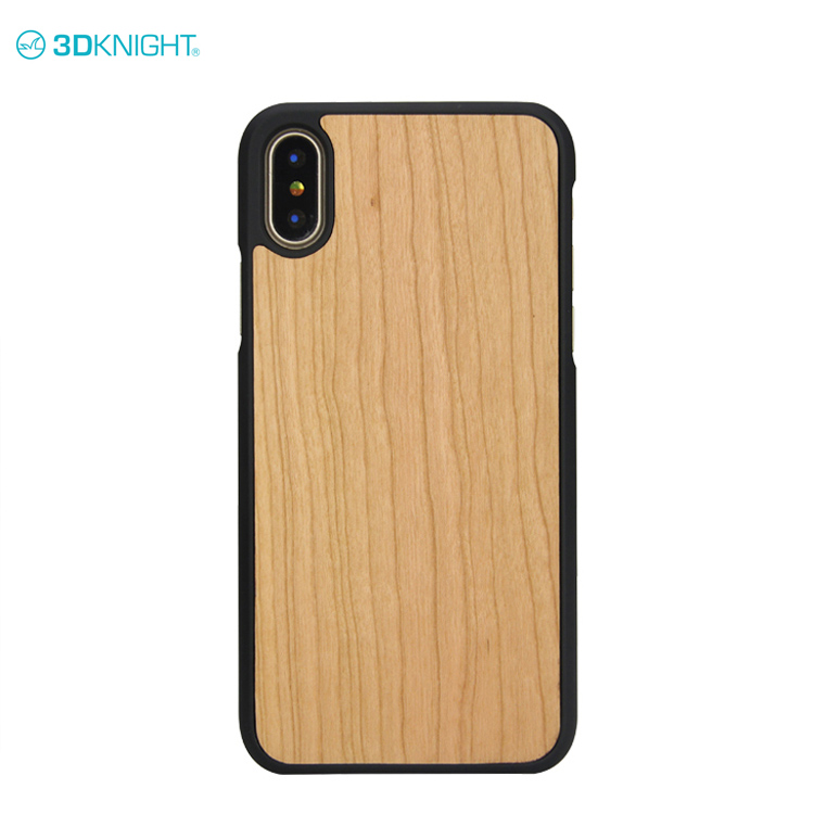 Factory Custom Engrave Cherry Wood  Phone Case Cover For iPhone X