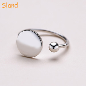 Wholesale High Quality Sland Women's Fashion Jewelry disc and ball design Korean 925 Sterling Silver Ring