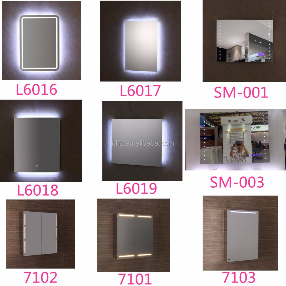 High-end hotel stainless steel base touch screen bathroom mirror with light
