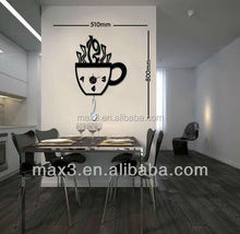 Diy Wall Stickers teacup wall clock specially offer in stock
