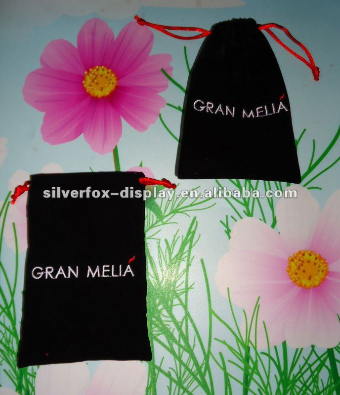 Velvet DrawString Bag with logo printing, Available in Different Colors & Sizes, Suitable for Gift