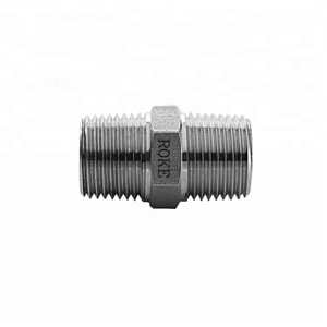 1/4 1/8 NPT BSP Compression Stainless Steel Hex Male Double Nipple Pipe Fitting