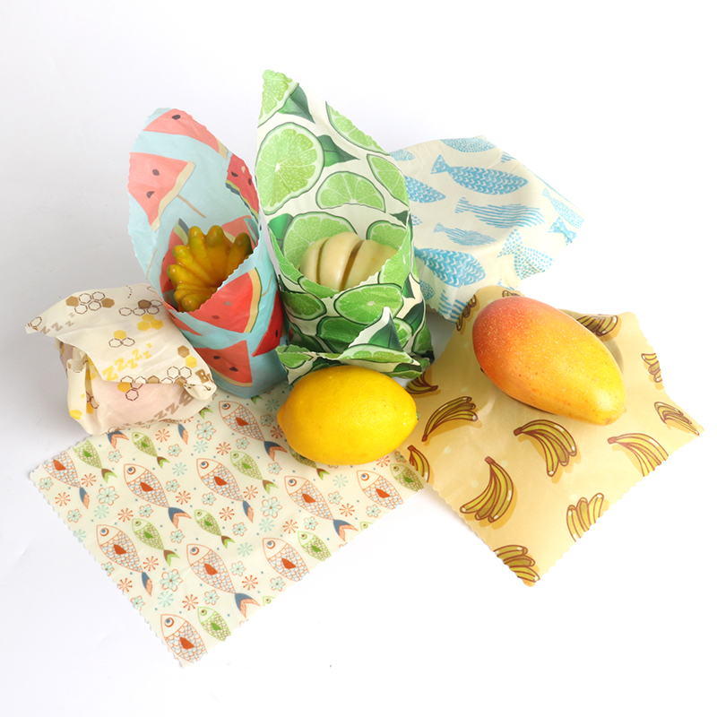 Amazon Best Selling Sustainable Biodegradable Reusable Natural Organic Cotton  Fabric Beeswax Food Wraps for Sandwich Lunch Pack