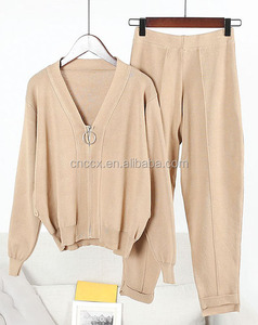 PK17ST403 cashmere sweater woman sports wear jogger set homewear