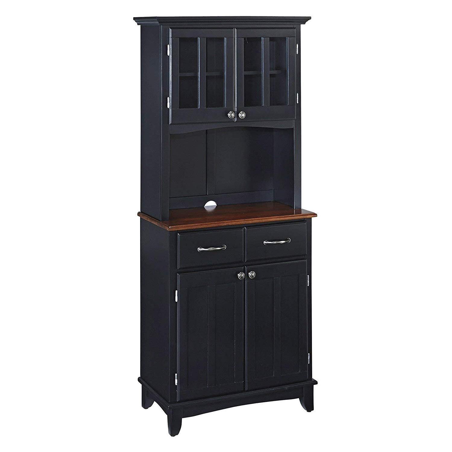 Get quotations · small wood bakers rack with two door hutch black finish with cottage oak wood top