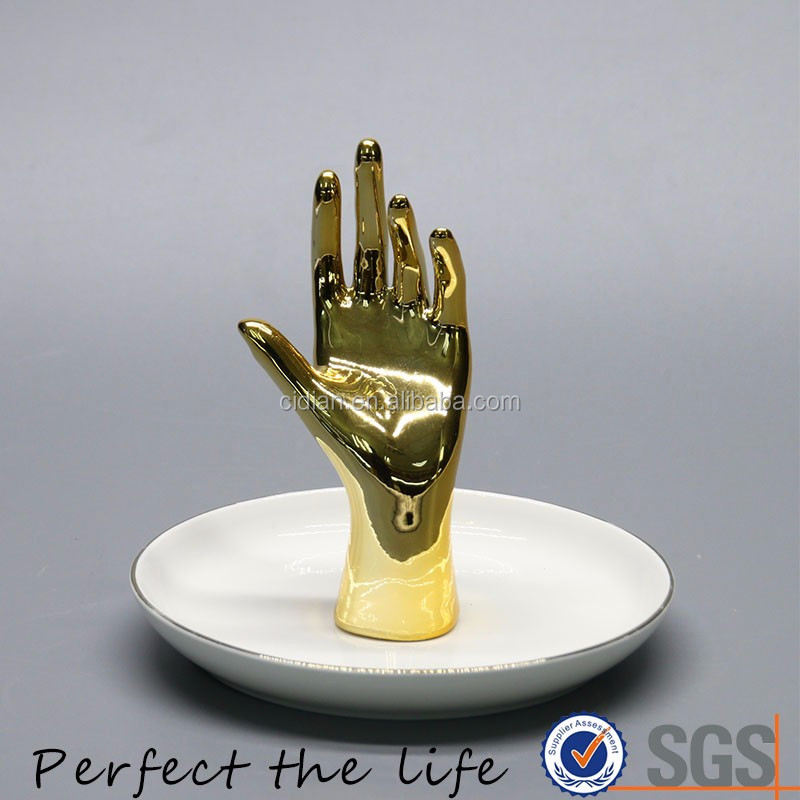 Ceramic gold plated hand shape Jewelry Dish holder