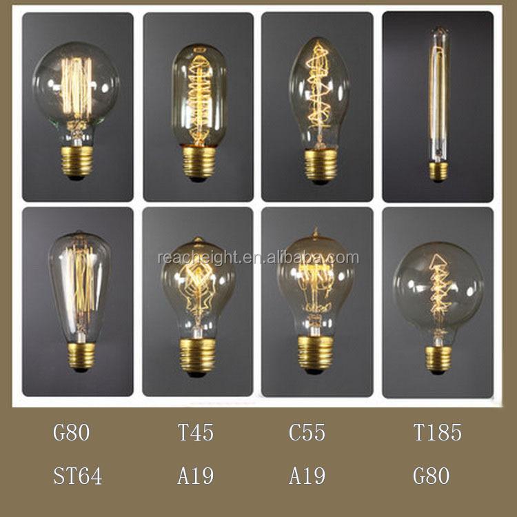 T225 Edison Bulb 220v /110v Globe Edison Carbon Filament Vintage ...