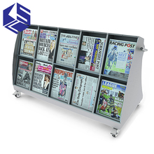 Good quality hotel newspaper rack stand for office with wheels