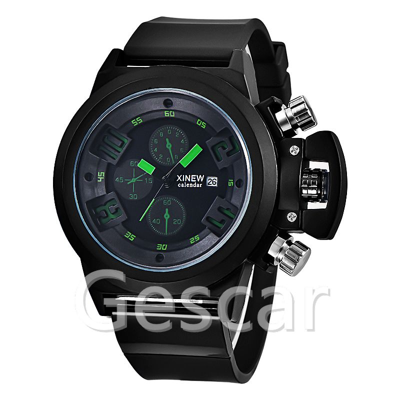 xinew-7166 man black silicone movt quartz sport watch for MEN
