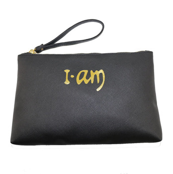 Eztraveling Saffiano PU Leather Pochette Makeup Pouch Gold Embossed Logo Travel Cosmetic Clutch Bag Women Bag