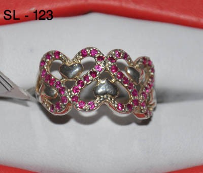 Silver Ring with Ruby In Love Shape