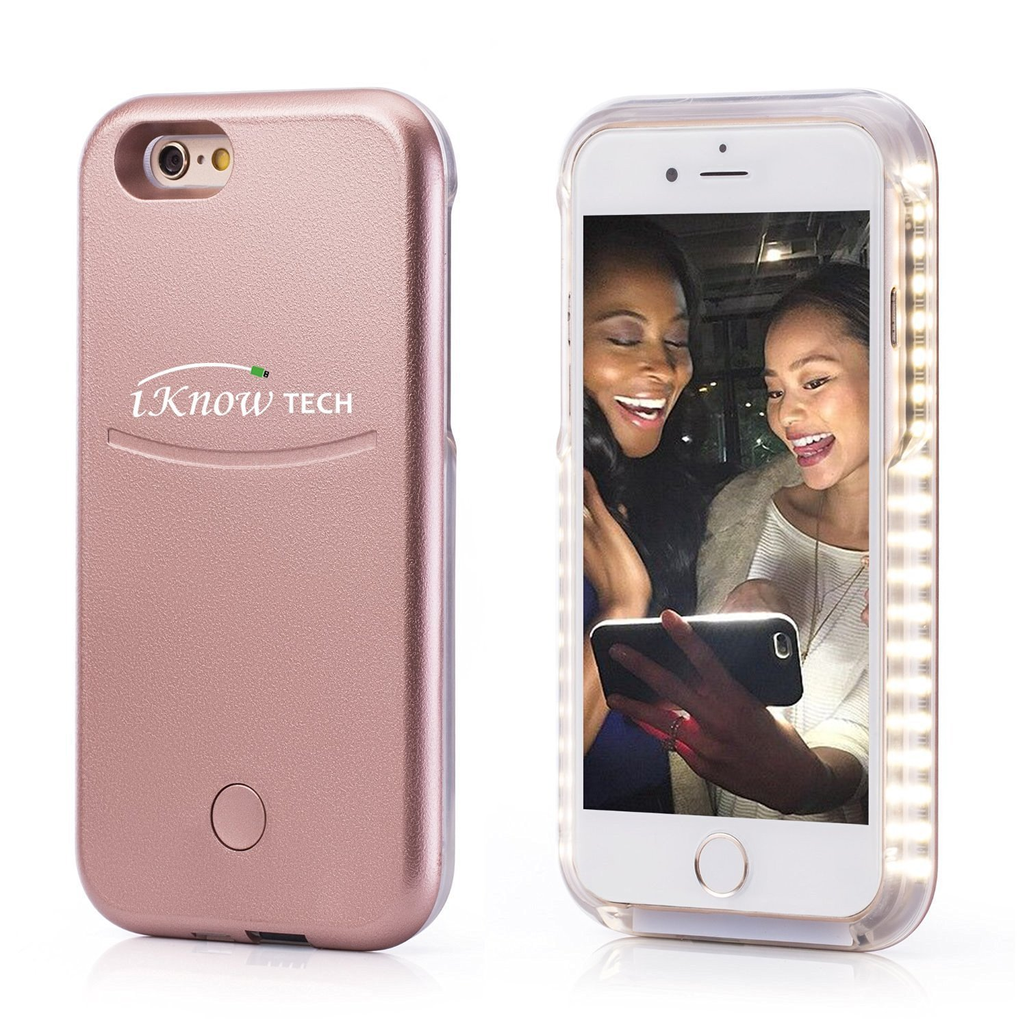 "iPhone 7 Plus Case, iKNOWTECH Luxury Night Selfie Light Cover Bumper Case Photo Self LED lightning for Apple iPhone 7 Plus 5.5"" 2016 Released (Rosy Gold)"