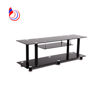 Most popular design metal coffee table legs tempered black glass coffee table RA087