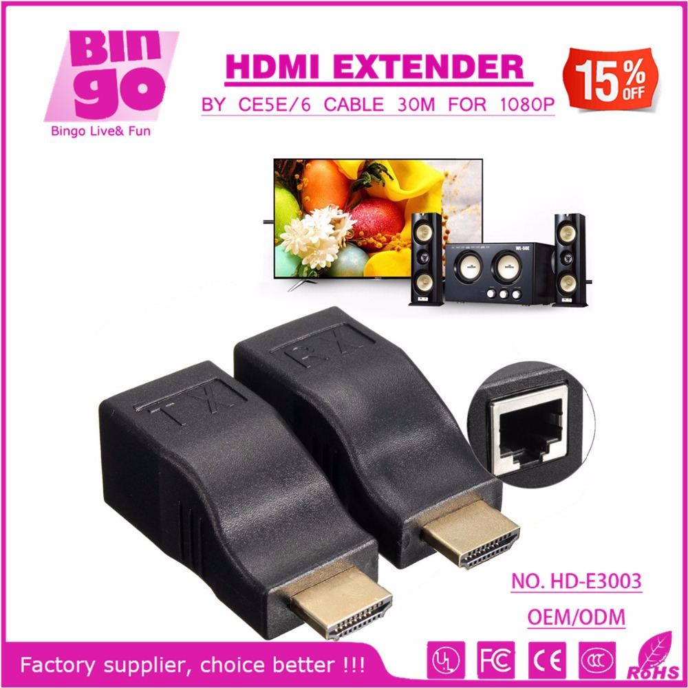 Bingo HD-E3003 Hot sale 30M HDMI Over RJ45 CAT5e CAT6 1080P HDMI Extender