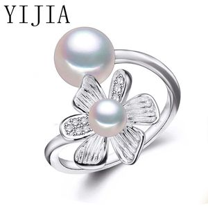 PUNK Bohemia Pearl Ring Flower Double Pearl Ring Trendy Natural Pearl Adjustable Charms Women's Flower Jewelry Wedding Gift
