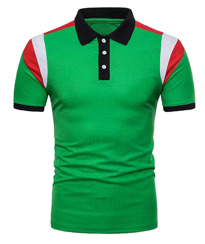 434a7b56f0d Get Quotations · XQS Mens Casual Color Block Short Sleeve Comfy Golf Polo  Shirt T-Shirt