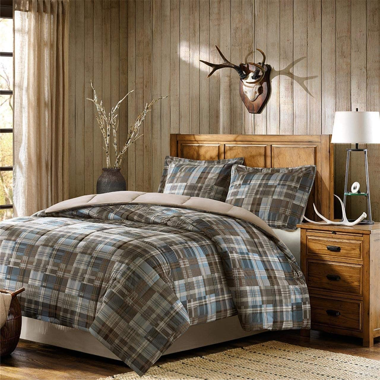 3 Piece Brown Blue Plaid Pattern Comforter Full Queen Set, For Luxury Master Bedrooms, Elegance Tartan Checkered Design, Cabin Theme Bedding, Classic Style, Super Soft & Cozy, Polyester, For Unisex