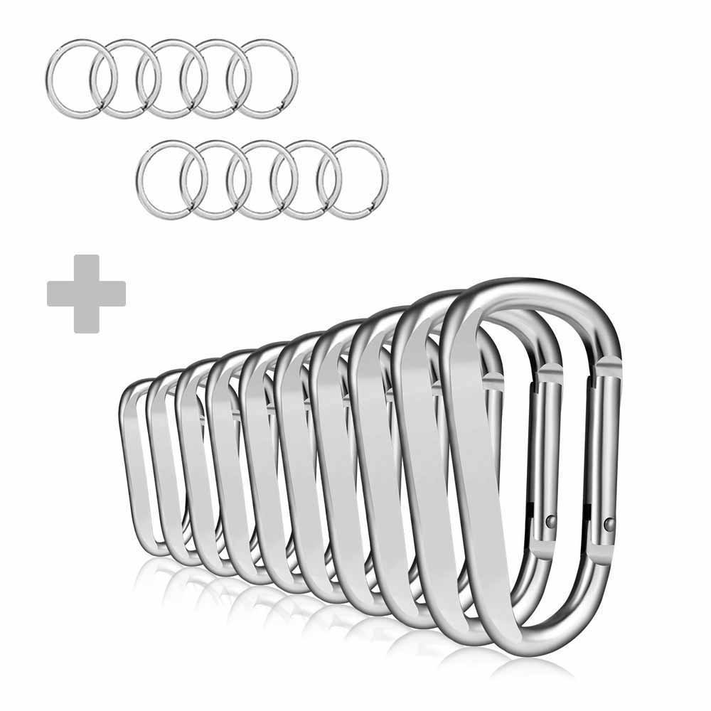 "KNGUVTH 10 PCS 3"" Aluminum Carabiner Keychain Clip with Keyrings, Light Durable D Ring Round Shape Nonlocking Caribeaner Hook Buckle Super Strong Large Carabiner for Outdoor EDC Key Chain Ring"