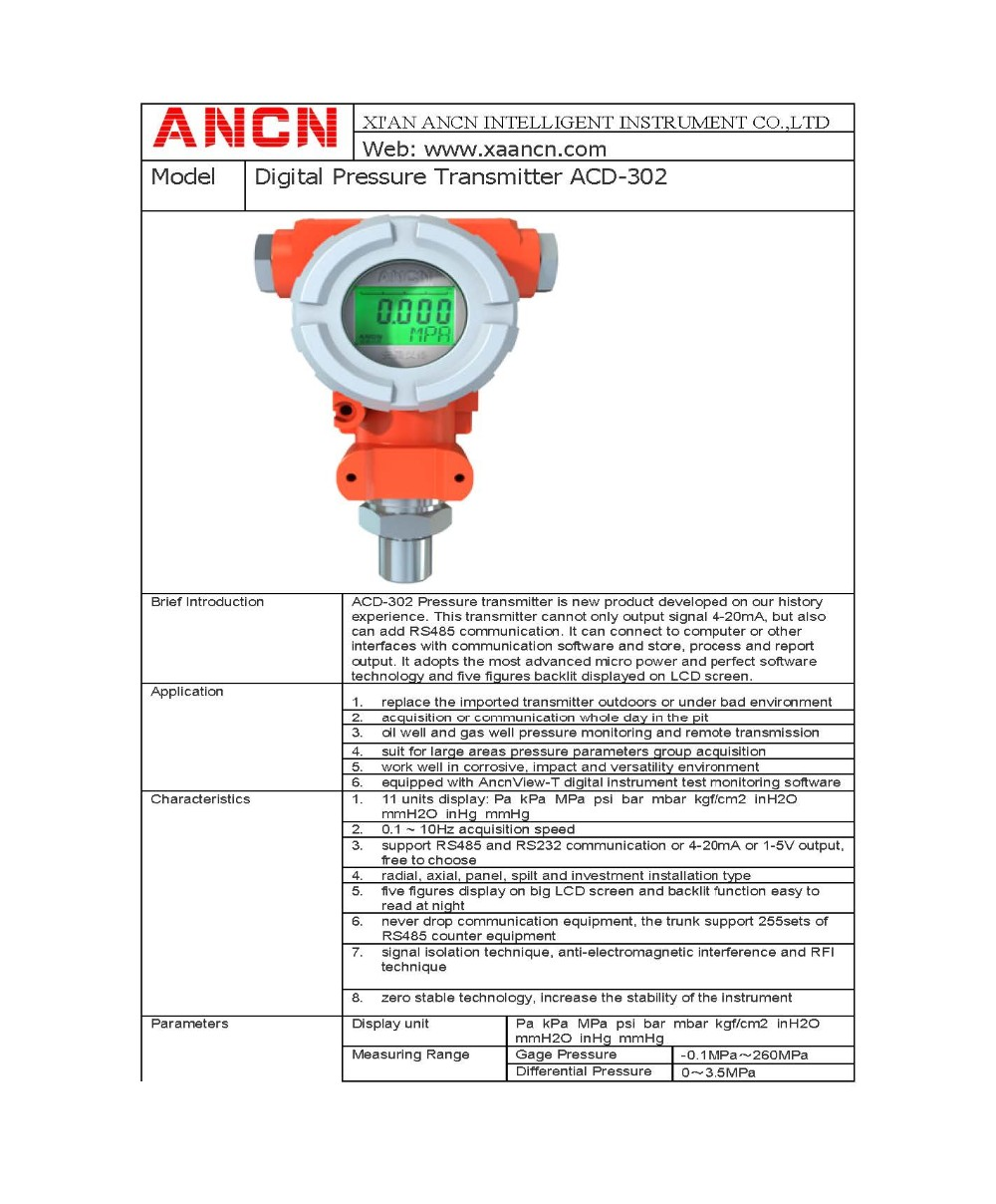 Intelligent Pressure Transmitter With Rs485 Communication - Buy Pressure  Transmitter,3051 Pressure Transmitter,China Pressure Transmitter Product on