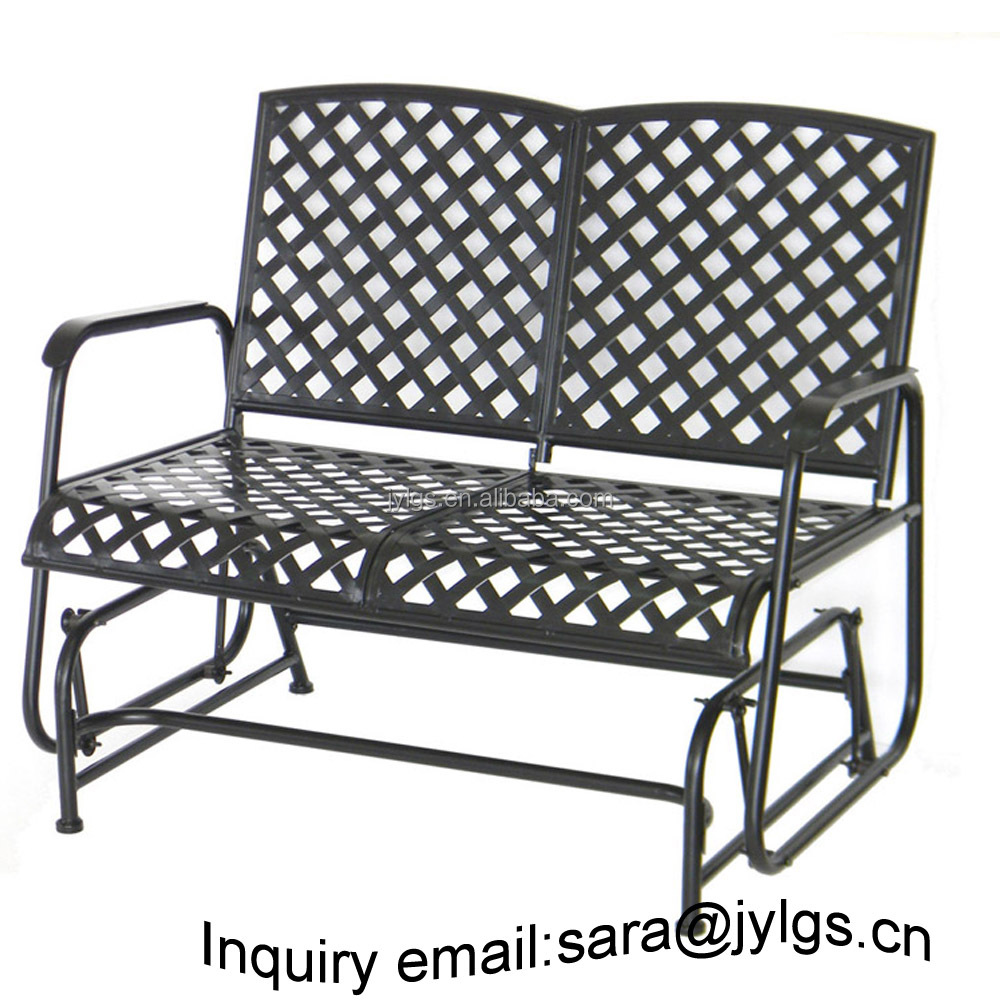 Patio Garden Wrought Iron Loveseat Glider Double Seat Rocking Chair Outdoor Chairs Antique Low