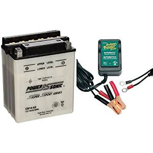 Power-Sonic CB14-A2 Conventional Powersport Battery and Battery Tender 021-0123 Battery Tender Junior 12V Battery Charger Bundle