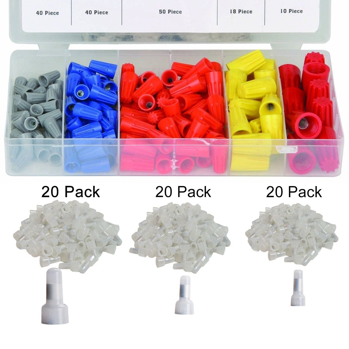 Wire Nut Assortment with Nylon Wire Crimp Cap - 158pcs #22-16 AWG Twist on Wire Nuts with Spring Inserted, 60pcs 22-16/16-14/12-10 AWG Closed End Crimp Terminal Connectors, Used on Wiring Projects