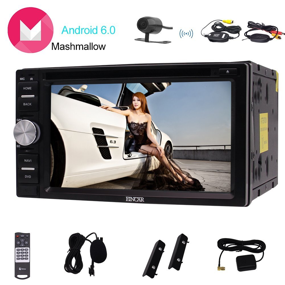 Eincar 6.2inch touch Screen Android6.0 Car stereo GPS Navigation with DVD Player support 1080P Video Bluetooth support Steering Wheel/Mirror Link/OBD2/External Micro/Wireless Camera included!!