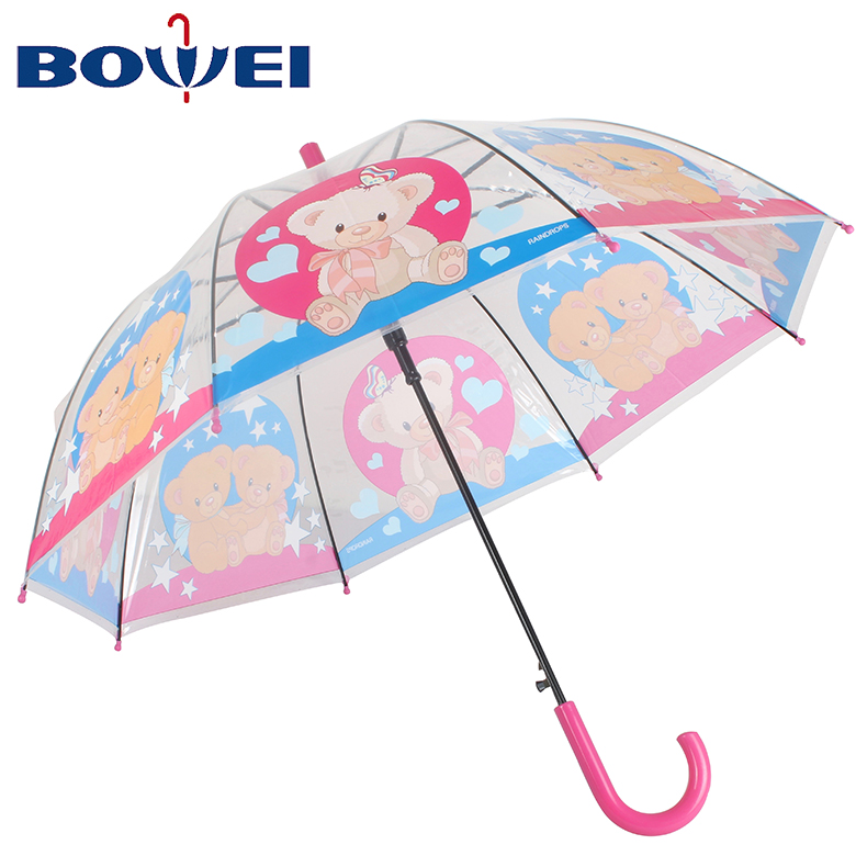 2020 Cheap automatic poe umbrellas with cute cotton Teddy Bear printing umbrella for kids