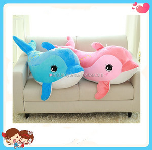 goods high quality multi-size blue pink soft stuffed sea animal dolphin plush toy pillow for kids