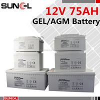 Trade assurance deep cycle dry 12v 70ah 75ah gel battery with CE ROHS