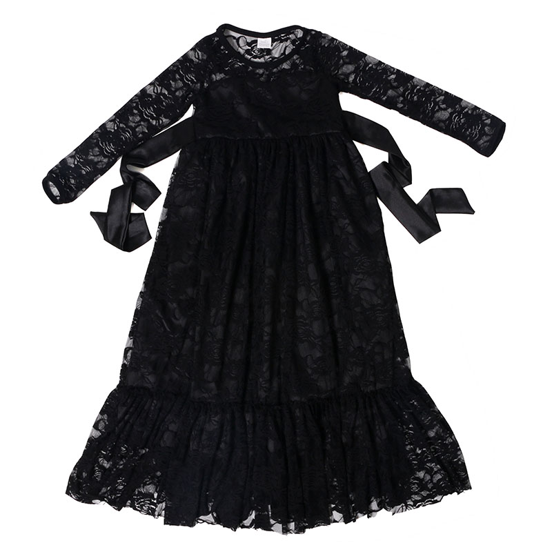 little girls party dresses black long sleeve lace child dress