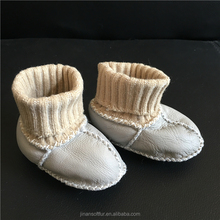 2018 design real sheepskin wool skidders baby shoes
