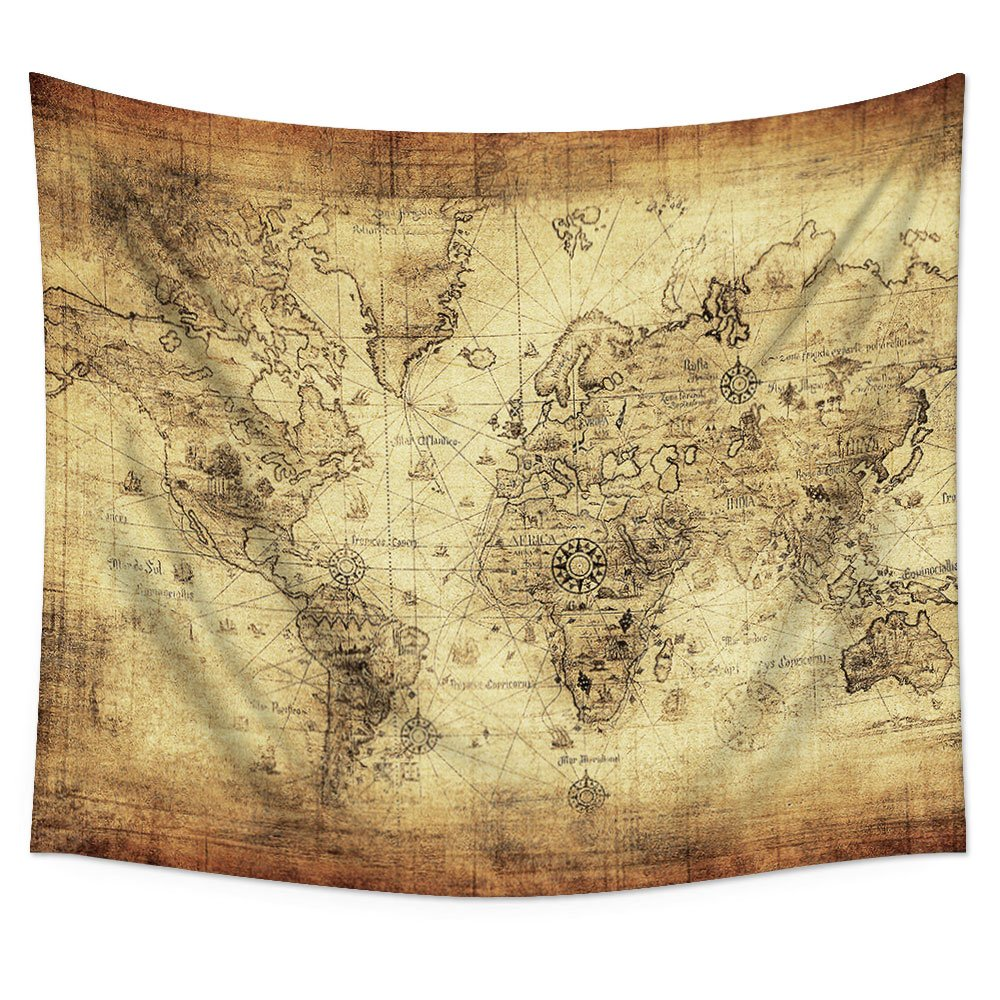 Cheap antique map fabric find antique map fabric deals on line at uphome antique map of the world wall tapestry hanging light weight polyester fabric wall gumiabroncs Image collections